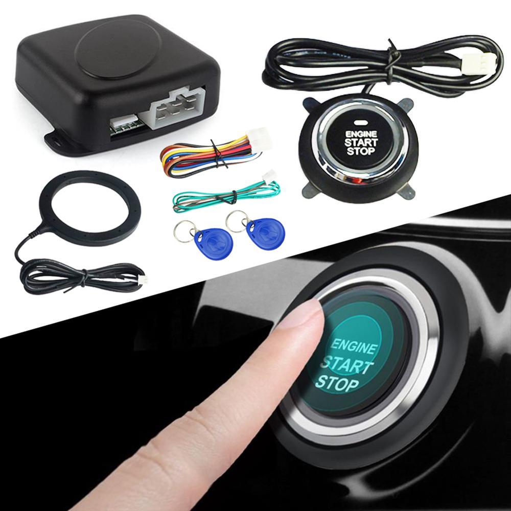 Système d'alarme intelligent de voiture 12V démarrage du moteur poussoir bouton d'arrêt antidémarrage d'allumage avec système d'entrée sans clé à distance