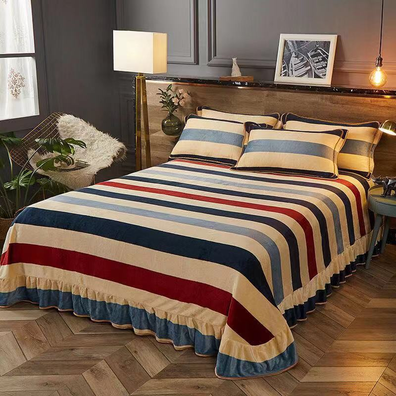 2019 Lace Sheet Luxury Velvet Flannel Fashion Classic Bedding Sheet Winter Warm Fleece Printing Bed Sheet Full Queen King Size