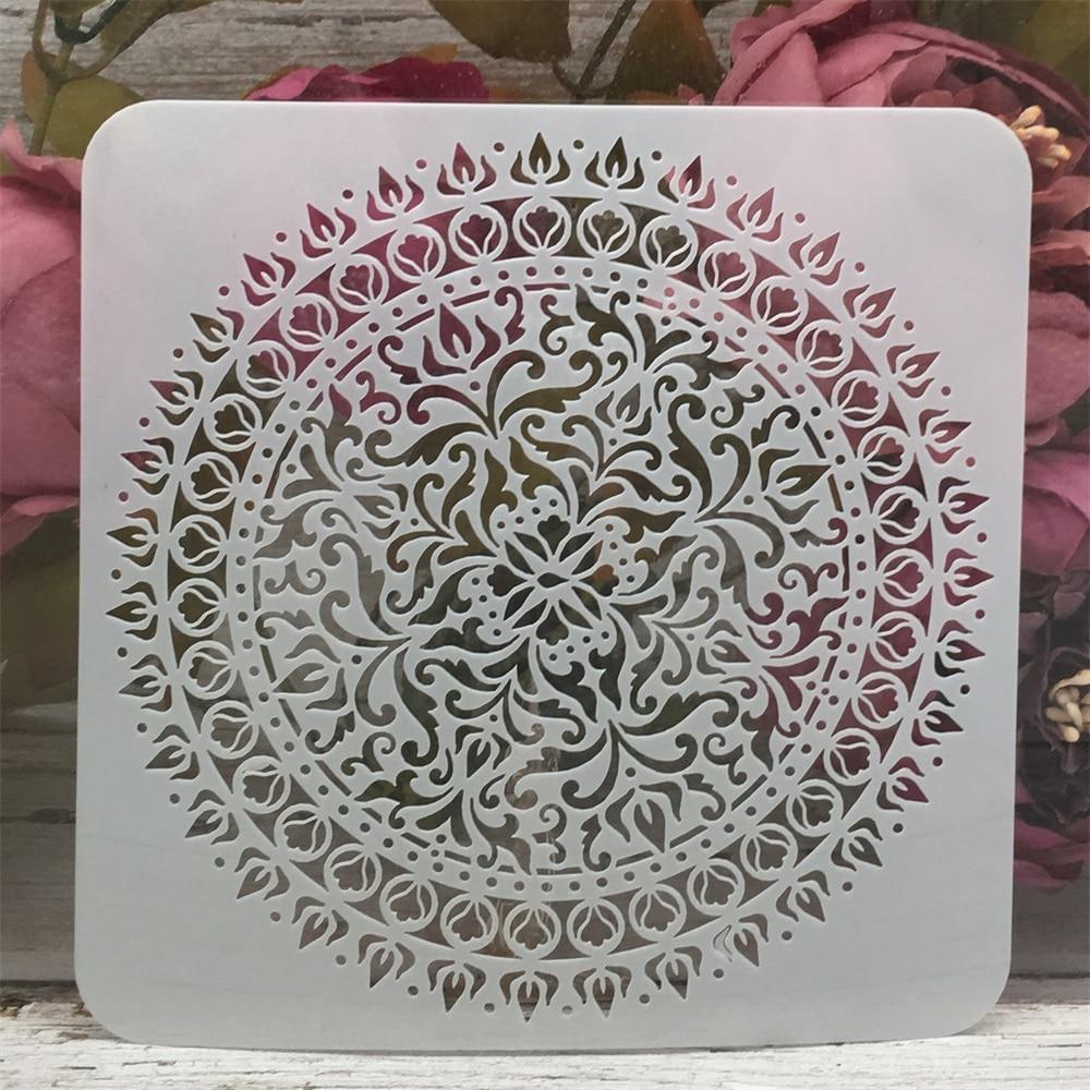 Mandala Wheel Round Square Design 3 DIY Layering Stencils Painting Scrapbook Coloring Embossing Album Decorative Template