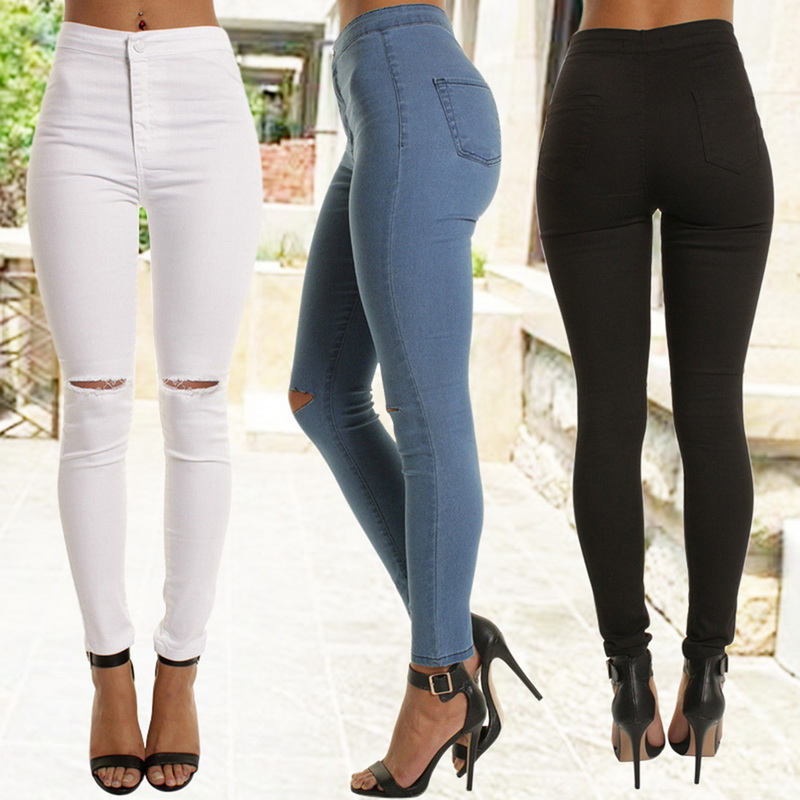LITTHING High Waist Casual Skinny   Jeans   For Women Hole Vintage Girls Slim Ripped Denim Pencil Pants High Elasticity Black Blue