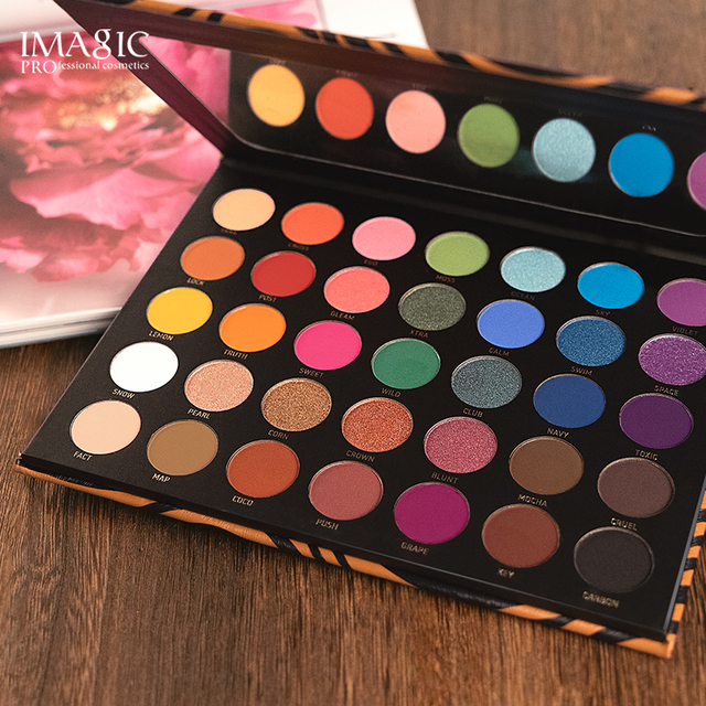IMAGIC New 35 Color Nude Color Shiny Eye Shadow Palette Color Waterproof Eye Shadow Tray Pigment Pearl Matte Cosmetics