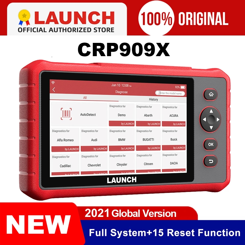 LAUNCH X431 CRP909X OBD2 Scanner Full System OBD Diagnostic Tool Automotive OIL IMMO TPMS Code Reader Diagnostic Scanner crp909