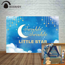 Allenjoy photocall backdrop twinkle little Star watercolor sky cloud moon baby shower birthday background photography photophone