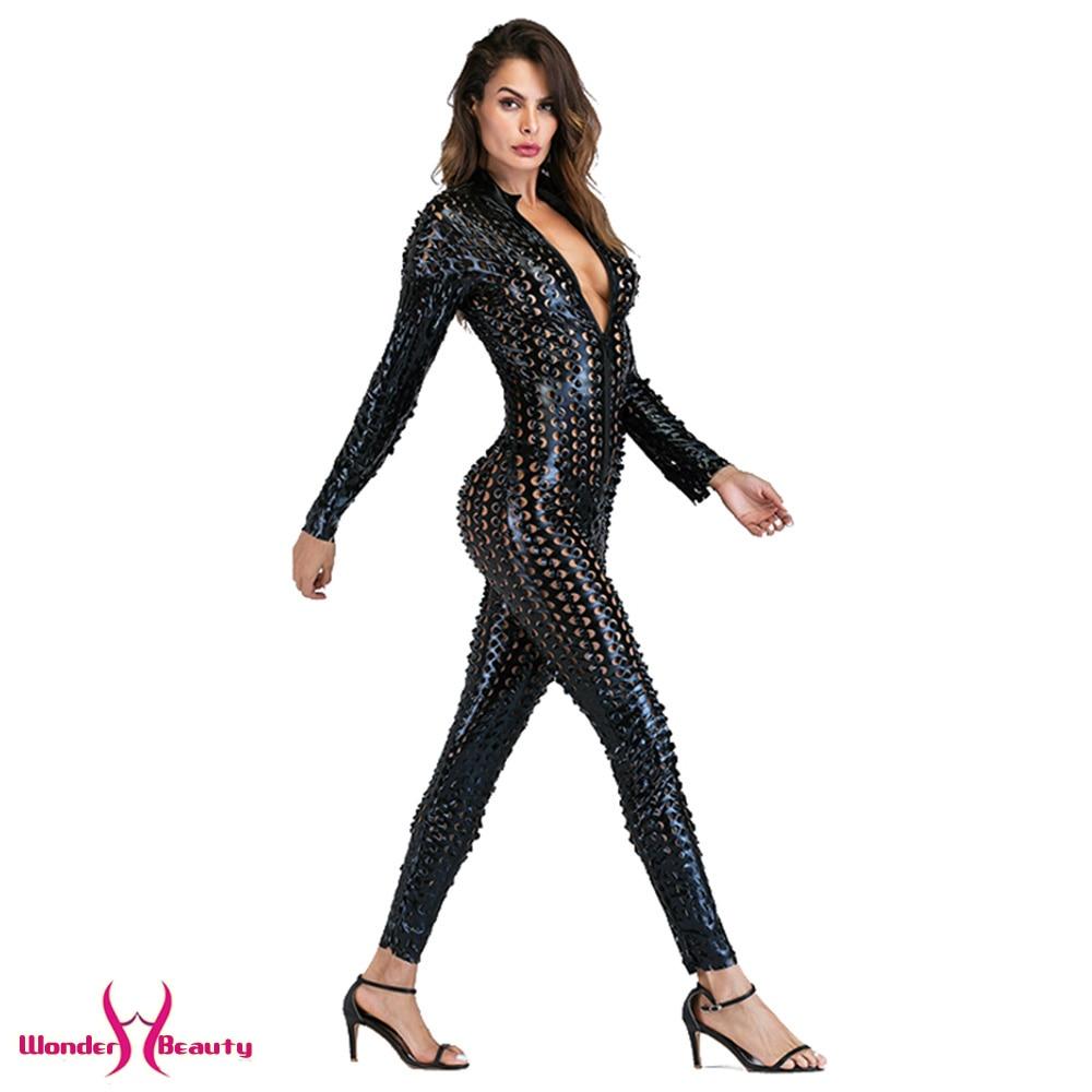 faux leather catsuit catwomen shiny black gold silver metallic leather jumpsuit wetlook pu leotard bodysuit bar night clubwear (35)