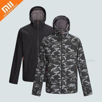 Xiaomi Men Jacket Windproof Waterproof Fleece Warm Soft Shell Top Comfortable Breathable Hooded Outdoor Sport Coat Windbreaker