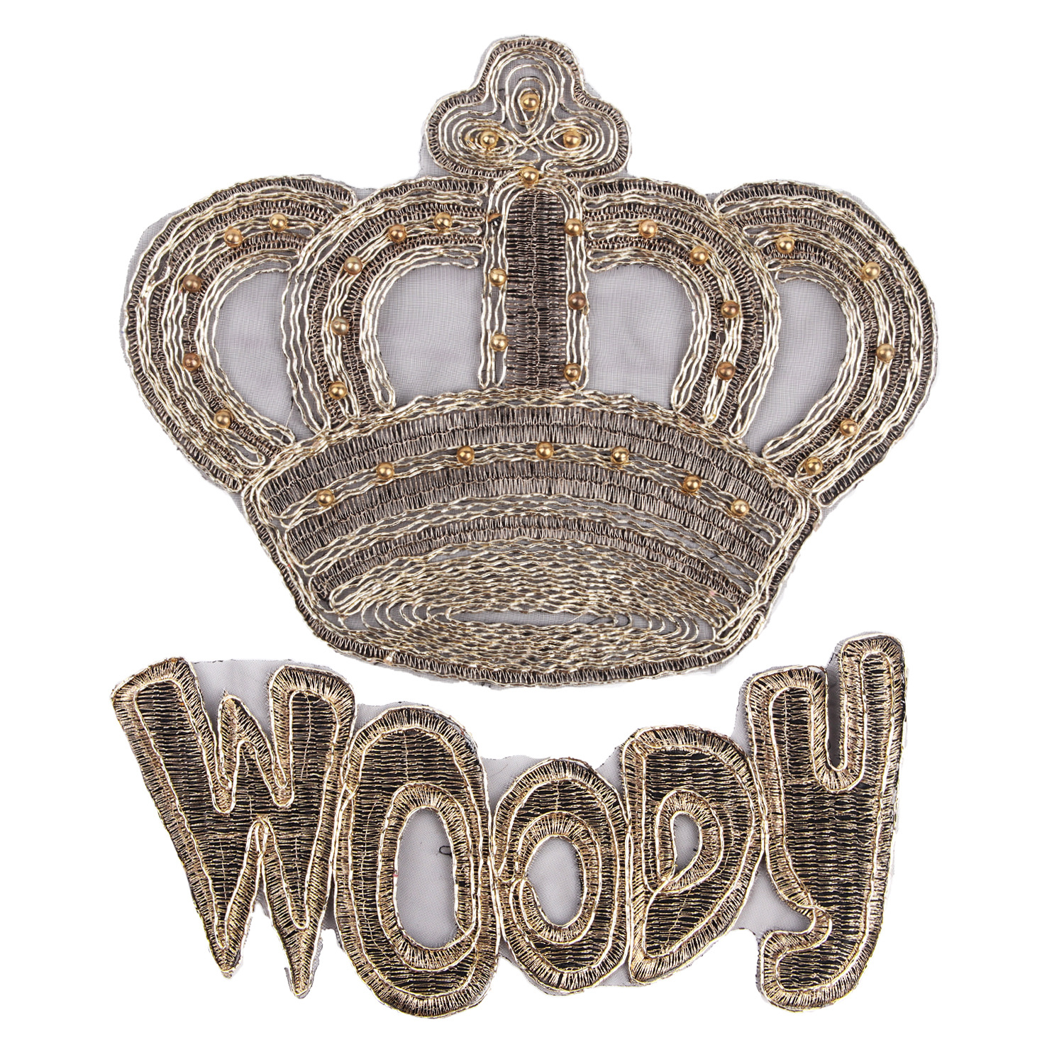 Large Cloth With Sequins, Nail Beads, Gold Silk, Crown Letter, Embroidery, Patch, Patching, Patching, Hole Filling, Clothing