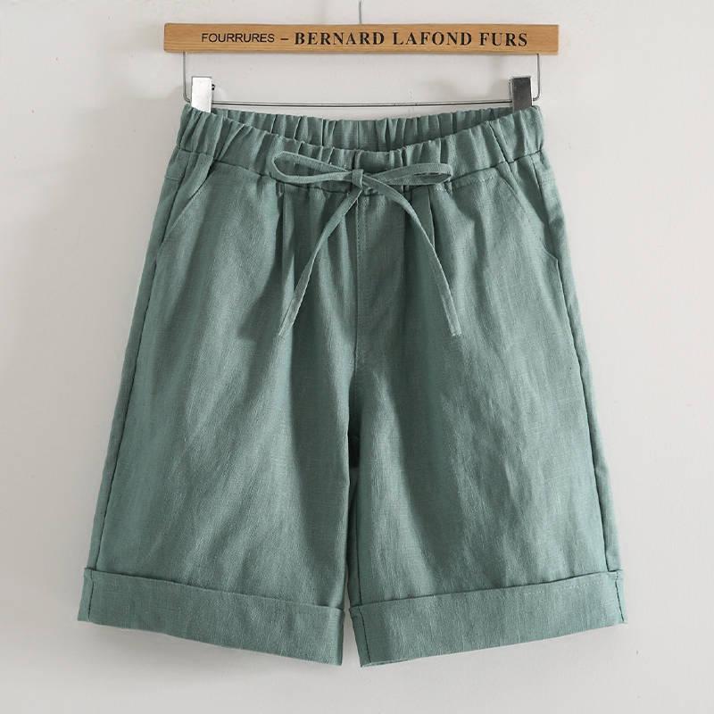 Women's Capris Elastic High Waist Trousers Wide Leg Half Pants Plus Size Pants Summer Casual Loose Knee Length Pants M-4XL
