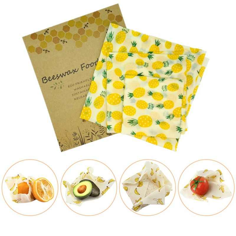 1/3PCS Organic Cotton Beeswax Fresh Cloth Set Reusable Household Beeswax Fresh Lid Cover Stretch Lid Jungle Kitchen Beeswax Wrap