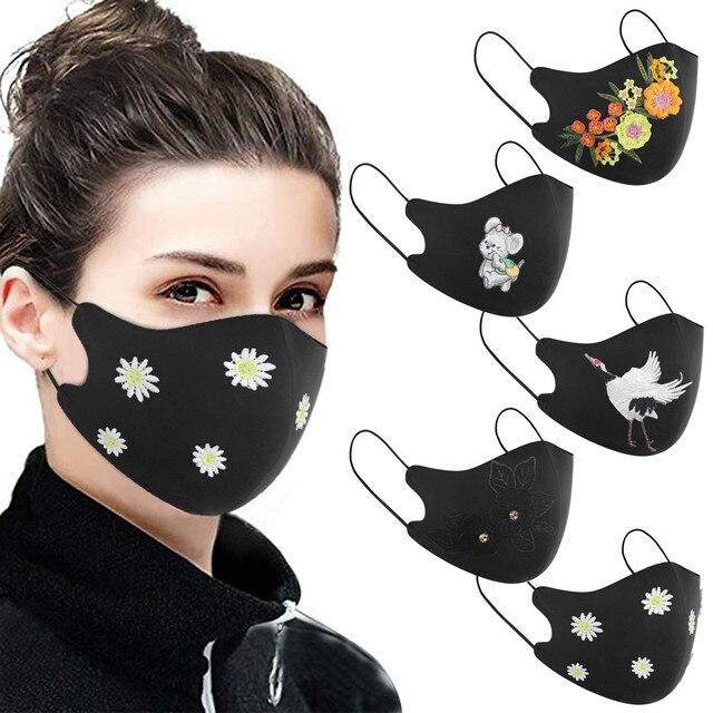 New Arrivals 2020 Washable Reusable Daisy Crane Pattern Face Mask 3D Cloth Dust proof Women Men Mouth Masks Unisex Korean