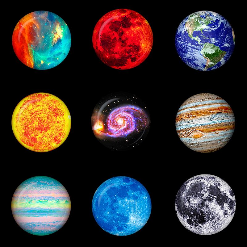 Refrigerator Magnets Stickers Decor Cabochon Glass Planet Solar-System Stars Moon Galaxy