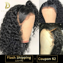 Wigs Short Human-Hair Curly Lace-Front Deep-Wave Black Pre-Plucked Brazilian for Women