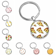 2019 Best Selling The Latest Dynamic Cartoon Fruit Pattern Series Glass Cabochon Flat Back Popular Keychain Fashion Jewelry Gift