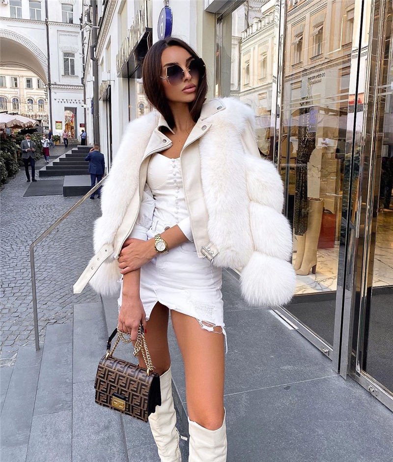 Women Faux Fur Coat with Fox Fur Winter Fashion 2021 New Motocycle Style Luxury Fox Fur Leather Jackets Woman Trendy Overcoats