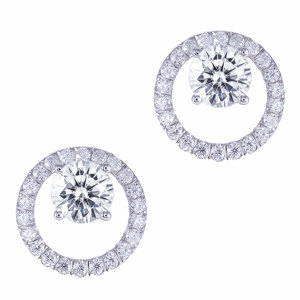 Image 1 - TransGems Solid 14K White Gold Center 1.6CTW 6mm F Color Moissanite Circle Round Stud Earrings With Accents Push Back for Women