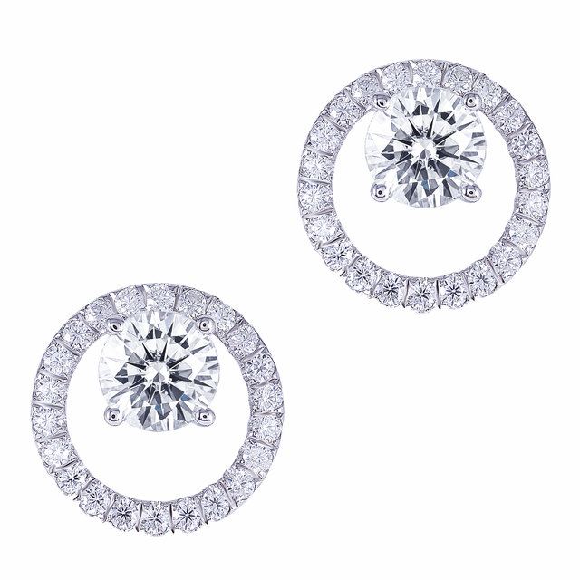 TransGems Solid 14K White Gold Center 1.6CTW 6mm F Color Moissanite Circle Round Stud Earrings With Accents Push Back for Women