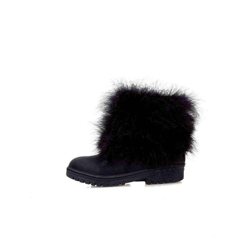 MORAZORA 2020 yeni varış kadın yarım çizmeler faux kürk sıcak kar botları yuvarlak ayak tatlı kare topuklu rahat kış ayakkabı kadın