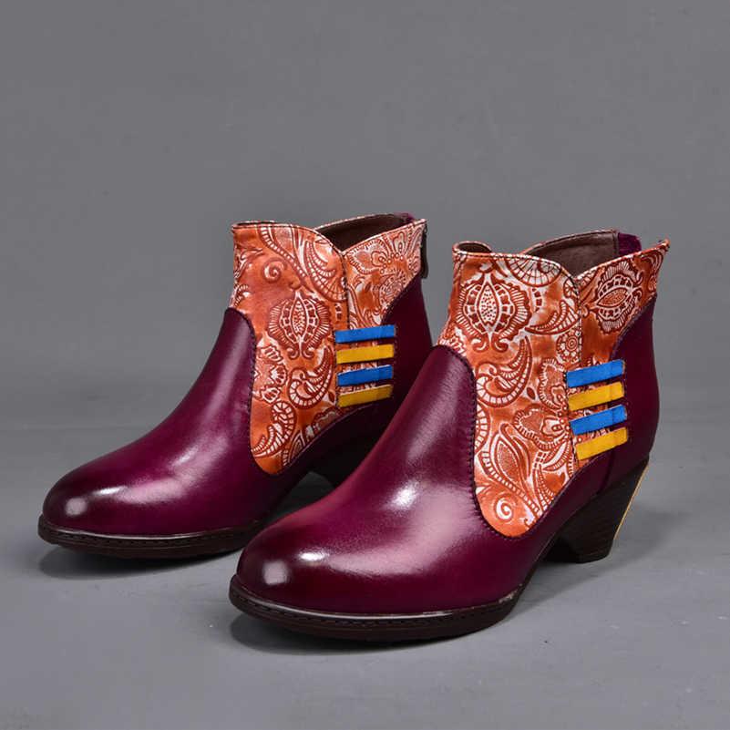 2019 Vintage Handmade Giày Nữ Mắt Cá Chân Giày Da Thật Chính Hãng Da Vòng Ngón Chân Thoải Mái cho Nữ Boot Kích Thước Lớn