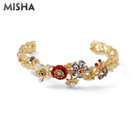 MISHA Bracelets For Women Flowers Corydalis Handmade Enamel Glaze Jewelry Bracelets Bangles Birthday Wedding Gift For Women L967