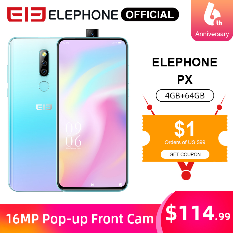 "ELEPHONE PX 4GB 64GB Mobile Phone MKT MT6763 6.53"" FHD+ Full Screen 16MP Dual Rear Cam Android 9.0 Pop-Up 16MP Cam Smartphone"