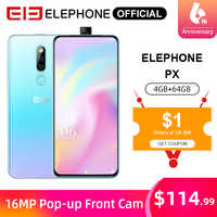 ELEPHONE PX 4GB 64GB Mobile Phone MKT MT6763 6.53 FHD+ Full Screen 16MP Dual Rear Cam Android 9.0 Pop-Up 16MP Cam Smartphone