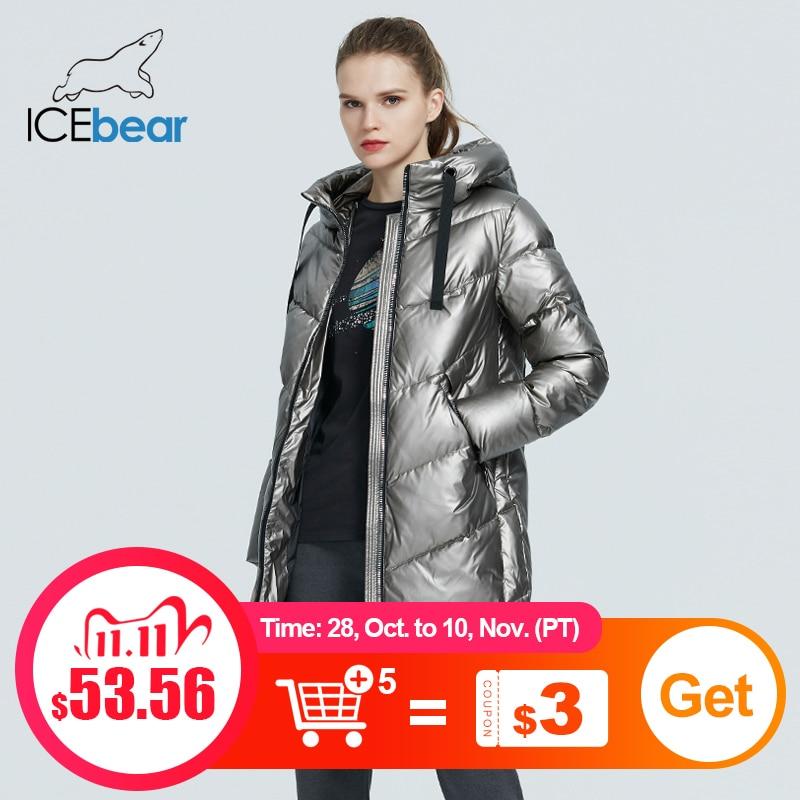 ICEbear 2020 новая куртка с капюшоном зимняя женская мода повседневная тонкий длинный теплое пальто хлопка марка дамы парки GWD20302D|Парки| | АлиЭкспресс