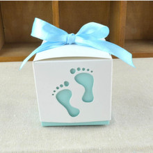 50pcs/lot Wedding Candy Box feet Shape Party Baby Shower Favor Paper Gift Boxes