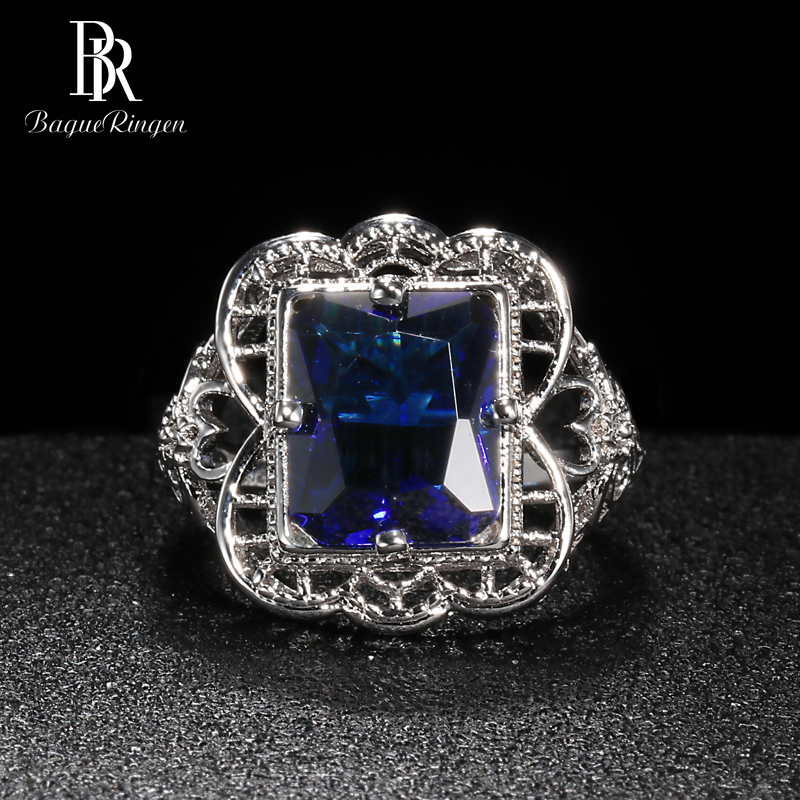 Bague Ringen Palace Hollow Pattern Ring For Women Geometry Sapphire Silver 925 Jewelry 9*12mm Gemstone Elegant Temperament Gift