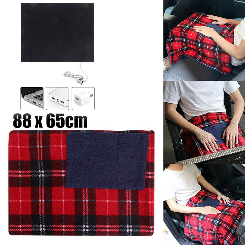 Portable 5V USB Electric Heated Blanket Winter Car Office Use Warm Comfortable Blanket Heater With Pocketed 88x65cm