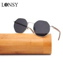 LONSY 2020 Vintage polarize ahşap bambu güneş gözlüğü kadınlar marka tasarımcısı Retro orijinal güneş gözlüğü ile kadın için kılıf ücretsiz