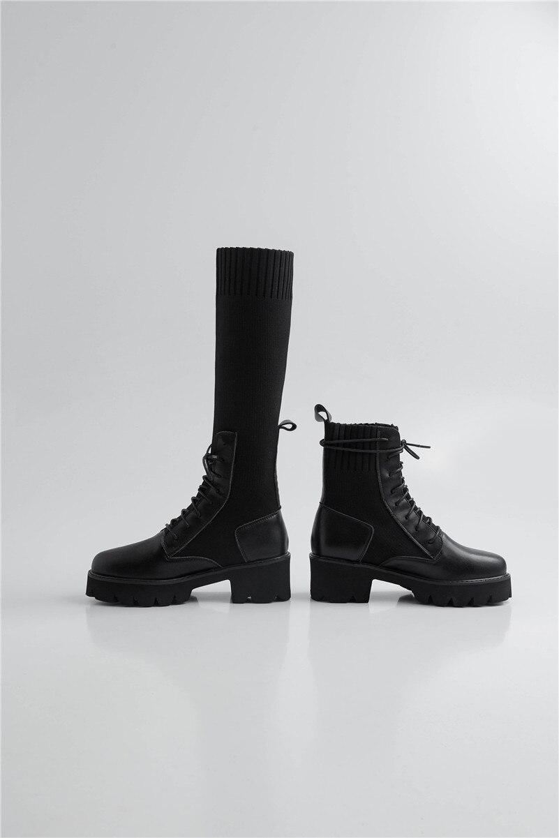 Новые модные женские ботинки/круглый носок/блочный каблук/передняя молния/сплошной цвет/зимняя повседневная и рабочая женская обувь для св... - 6