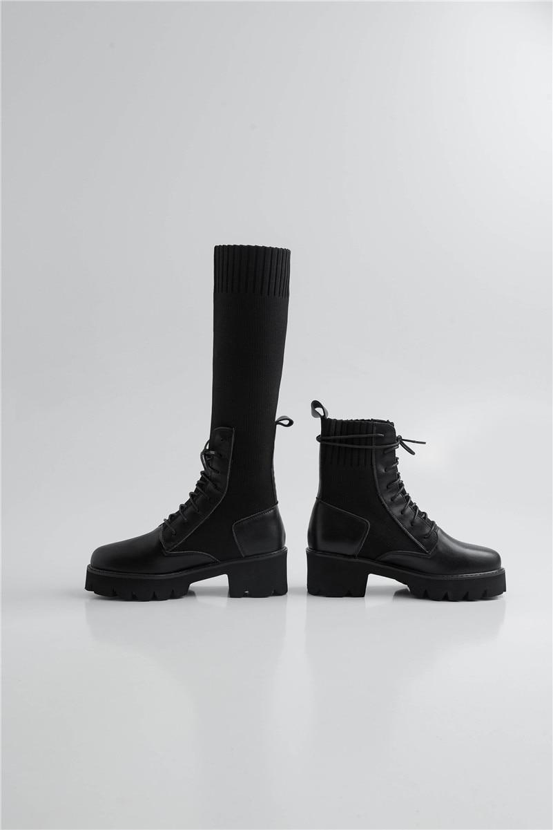 Lenksien beknopte stijl wiggen platform patchwork puntschoen lace up vrouwen pompen natuurlijke lederen punk dating casual schoenen L18 - 6