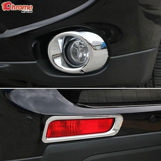 Dla Mitsubishi Outlander 2013 2014 Chrome przednie tylne światło przeciwmgielne lampa przeciwmgielna pokrywa tapicerka zderzak Protector dekoracja Car Styling