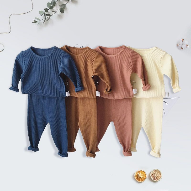 Children Ribbed Fitted Pajamas Kids Toddler Boys Girls PJS Cotton Top And Pants Sets Clothing Clothes Sleepwear Nightwear