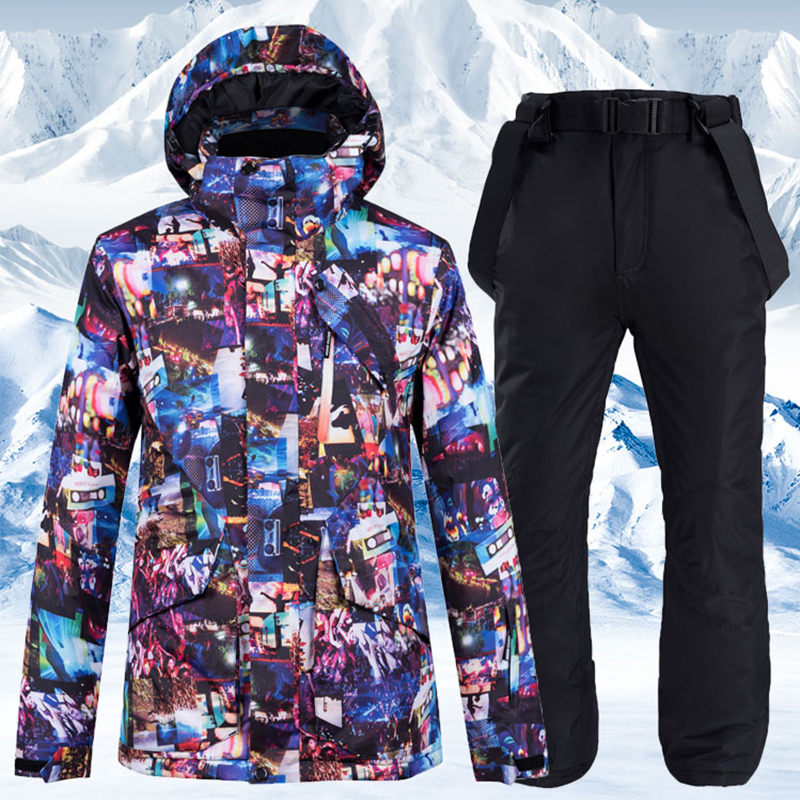 Ski Jacket And Pants For Men Waterproof Windproof Ski Suit Skiing Jackets Thicken Warm Ski Sets Men Snowboarding Suits Snow Coat