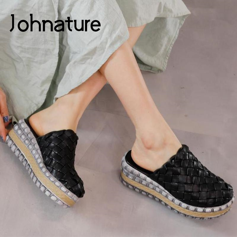 Johnature Summer Slippers Women Shoes Genuine Leather 2020 New Flat With Slides Outside Wear Weave Platform Ladies Slippers