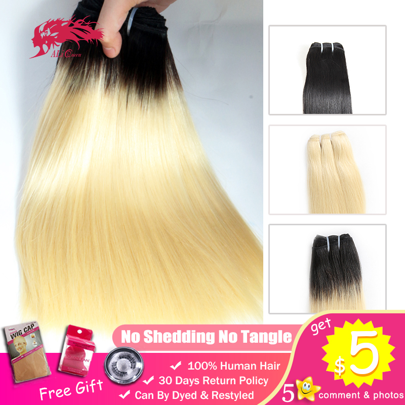 Ali Queen 1b 613 Blonde Ombre Young Girl Raw Brazilian Unprocessed Virgin One-Donor Human Hair Bundle 2-3 Year Double Drawn Weft