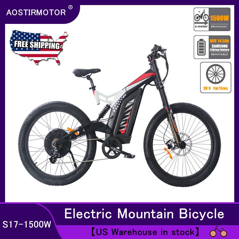 AOSTIRMOTOR Electric Mountain font b Bike b font 1500W 48V 14 5AH E font b Bike