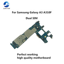 Бренд Jun Fun Daul SIM Разблокирована оригинальная используемая материнская плата для Samsung Galaxy A3 A310F материнская плата с полными ЧИПАМИ Android OS логическая плата