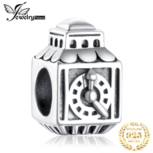 JewelryPalace Pink Cubic Zirconia 925 Sterling Silver Square Clock Bead Charm Fit Bracelets Fashion DIY For Women