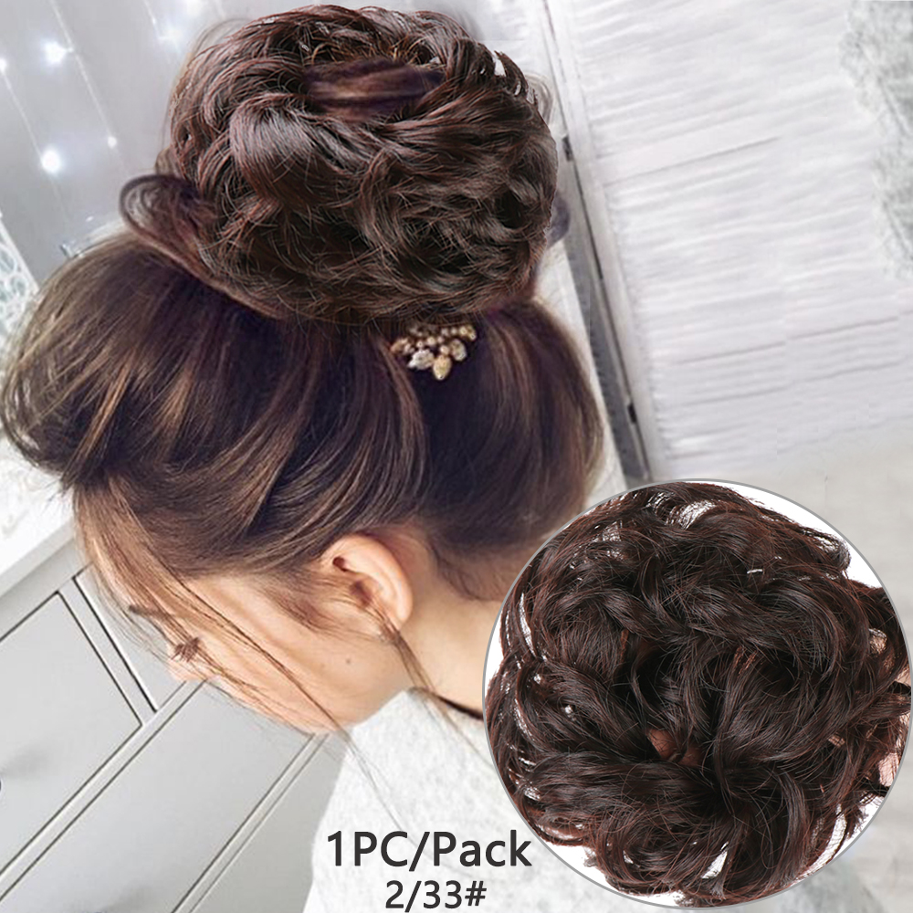 Messy Hair Bun Scrunchy Hairpiece Extensions Synthetic Wig Ring Wrap Chignon For Women Black Brown  High Temperature Fiber