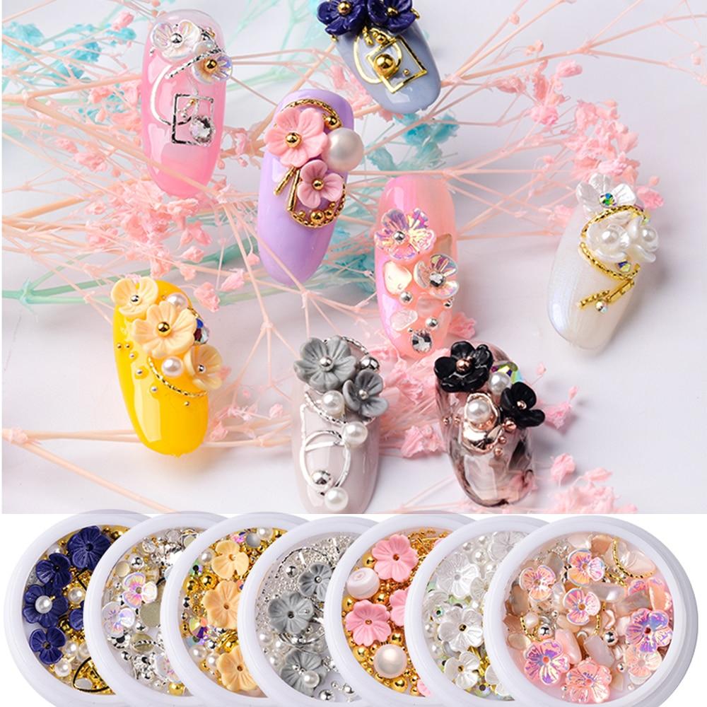 1 caixa nova quente 3d prego strass concha brilho flor pequenos grânulos fatia unhas ferramentas manicure accessises decorações da arte do prego