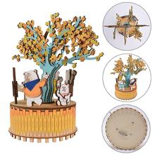 Innovative Birthday Christmas Gift Wooden Music Box Carousel Crafts Ornaments DIY Cottage House Home Decoration