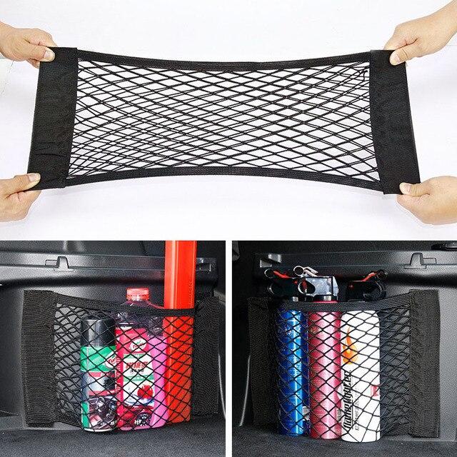 Car Back Rear Trunk Seat Storage Bag Auto Accessories Organizer Double deck Elastic String Net Magic Sticker Pocket Bag Mesh