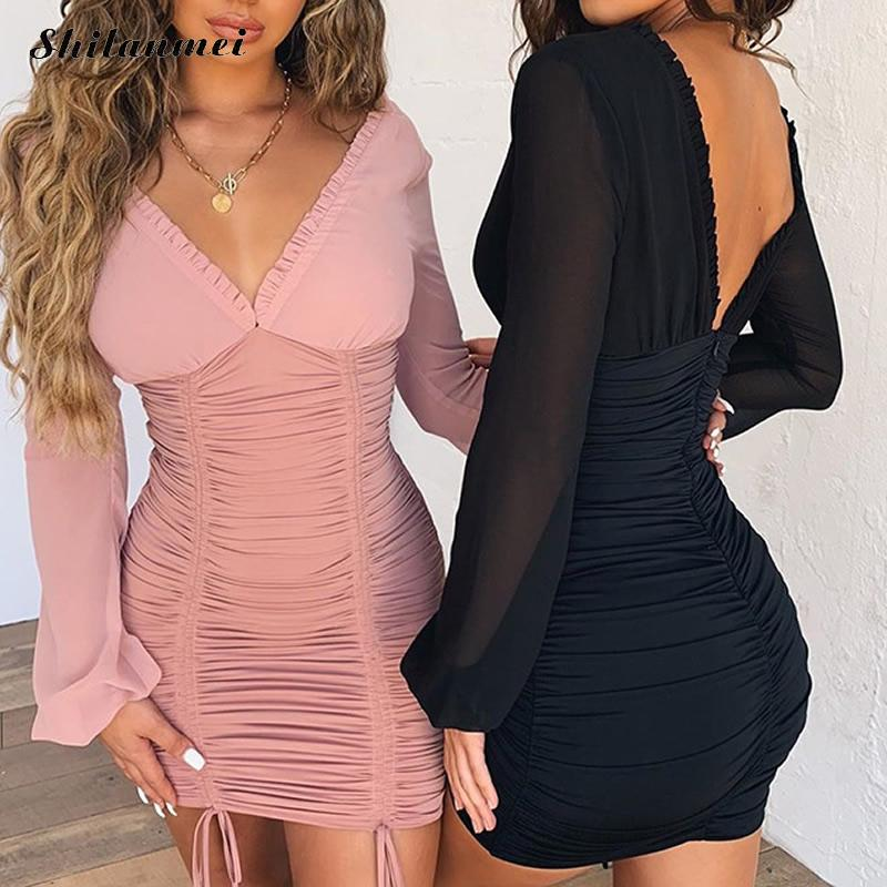 Sexy Bodycon Mini Dress Women Long Sleeve Black Party Dress Backless Ruched Bandage Dresses 2019 V-Neck Pink Nigh Club Dresses