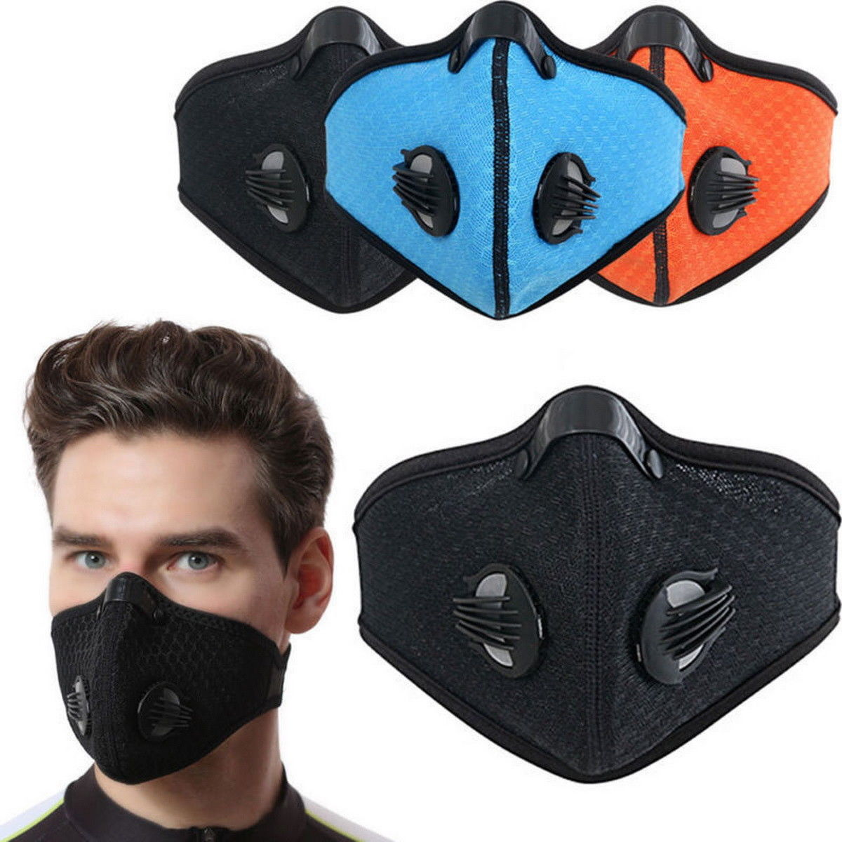Dustproof Mask Elastic Activated Carbon Riding Half Face Masks for Protective Woodworking Cycling Running Bicycle Windproof