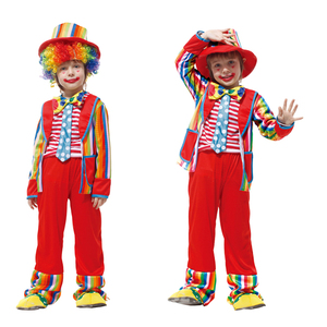 Darmowa wysyłka kostiumy na Halloween dzieci śmieszne klaun cyrkowy z kapeluszem niegrzeczny Harlequin jednolite fantazyjne chłopcy dziewczyna element ubioru