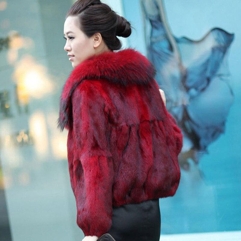 2020 Real Fur Coat Women Fashion Real Rabbit Fur Jacket With Natural Raccoon Fur Collar Short Parka Mujer Abrigo LX2507