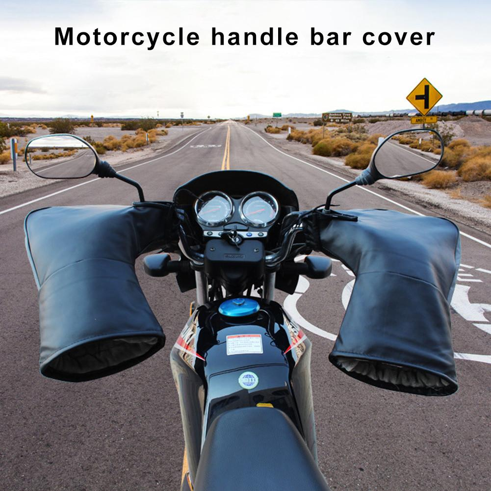 Winter Thermal Motorcycle Handlebar Gloves With Reflective Strip Windproof Waterproof Warm Motorbike Handle Bar Hand Cover Muffs