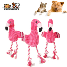 SUPREPET Hot Toy Pet Dog Chew Bite Toy Soft Pink Stuffed Flamingo Squeak Dog Chew Toy For Small Large Dogs Puppy Dog Supplies cute plush toy 25cm bite resistant dog chew toys for small large dogs dinosaur shaped puppy pet chew squeaking toy pet supplies