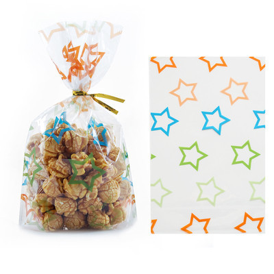 50pcs Bags + Wire Ties Plastic Gifts Packaging Pouches Birthday Wedding Party Bakery Cookies Snacks Biscuit Candy Popcorn Bags